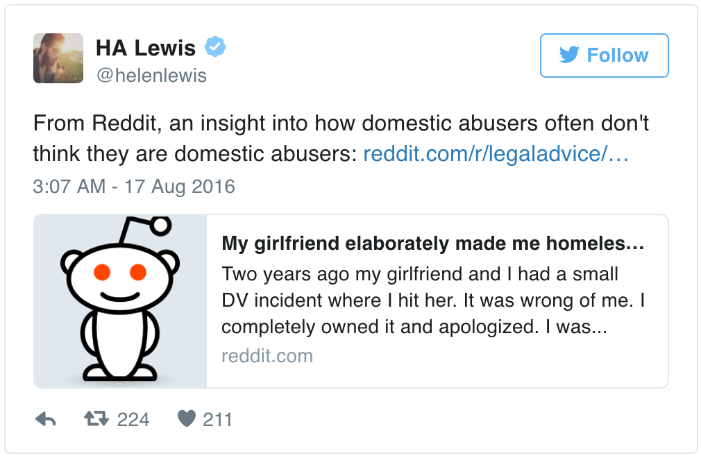 This abusive boyfriend turns to Reddit for legal advice