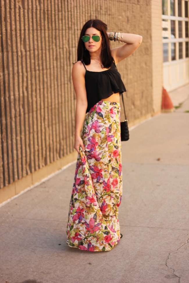 High Waisted Maxi Skirt With Crop Top - Dress Ala