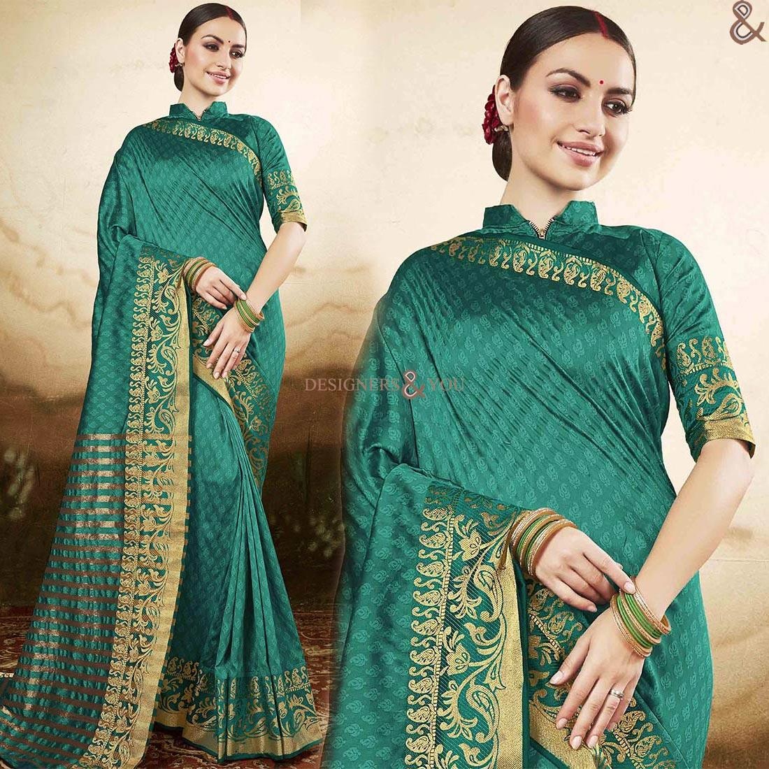 ee98e692e3552 Graceful Green Raw Silk Printed Simple Saree Blouse Design - Mogul