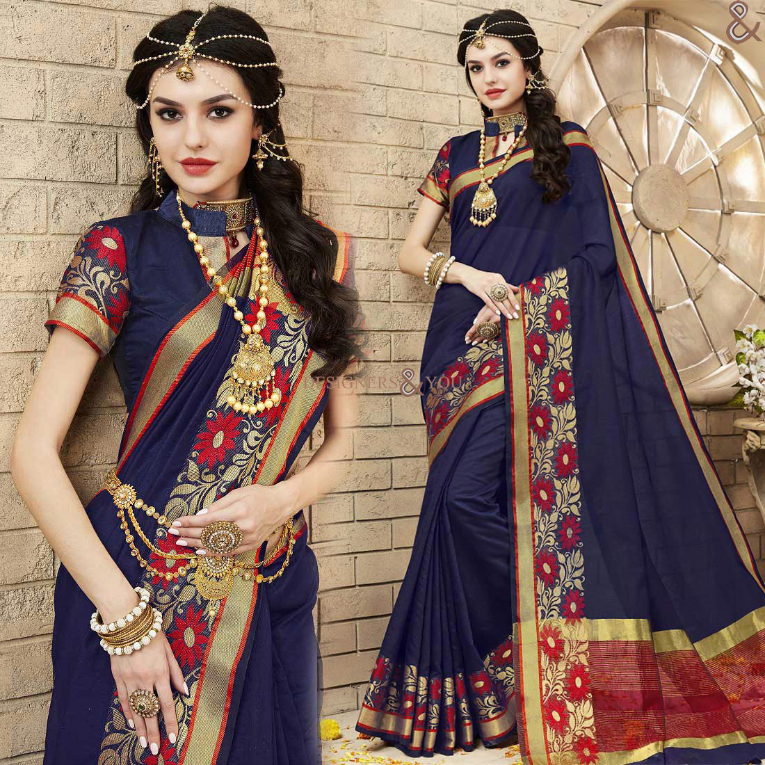 ae4ce19f18387 Fashionable Blue Raw Silk Trendy Saree Having Chinese Collar Blouse - Mogul