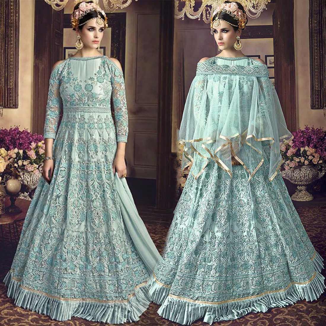 Sky Blue Reception Dresses