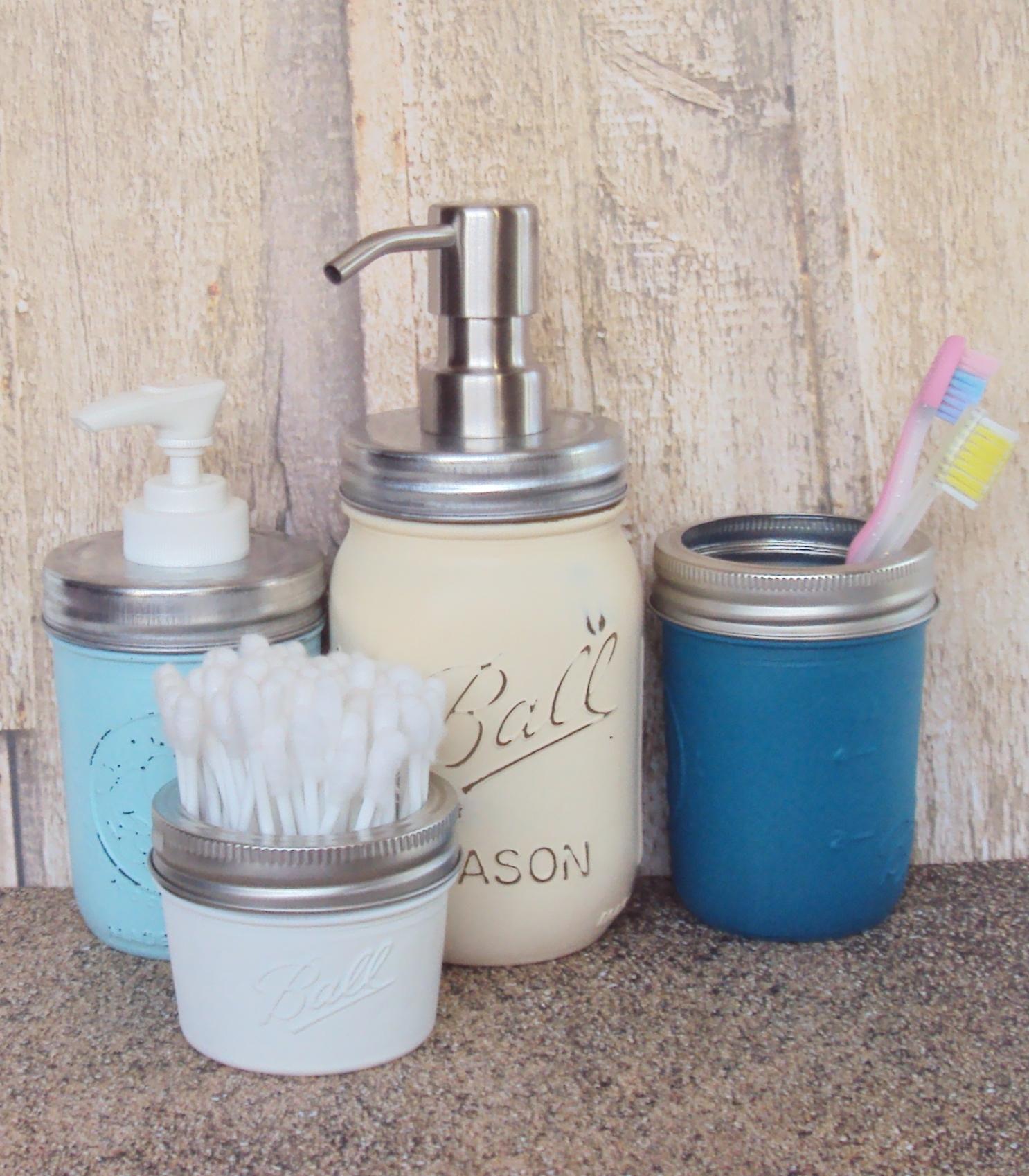 beach themed mason jar set with foaming soap dispenser and lotion dispenser mogul. Black Bedroom Furniture Sets. Home Design Ideas
