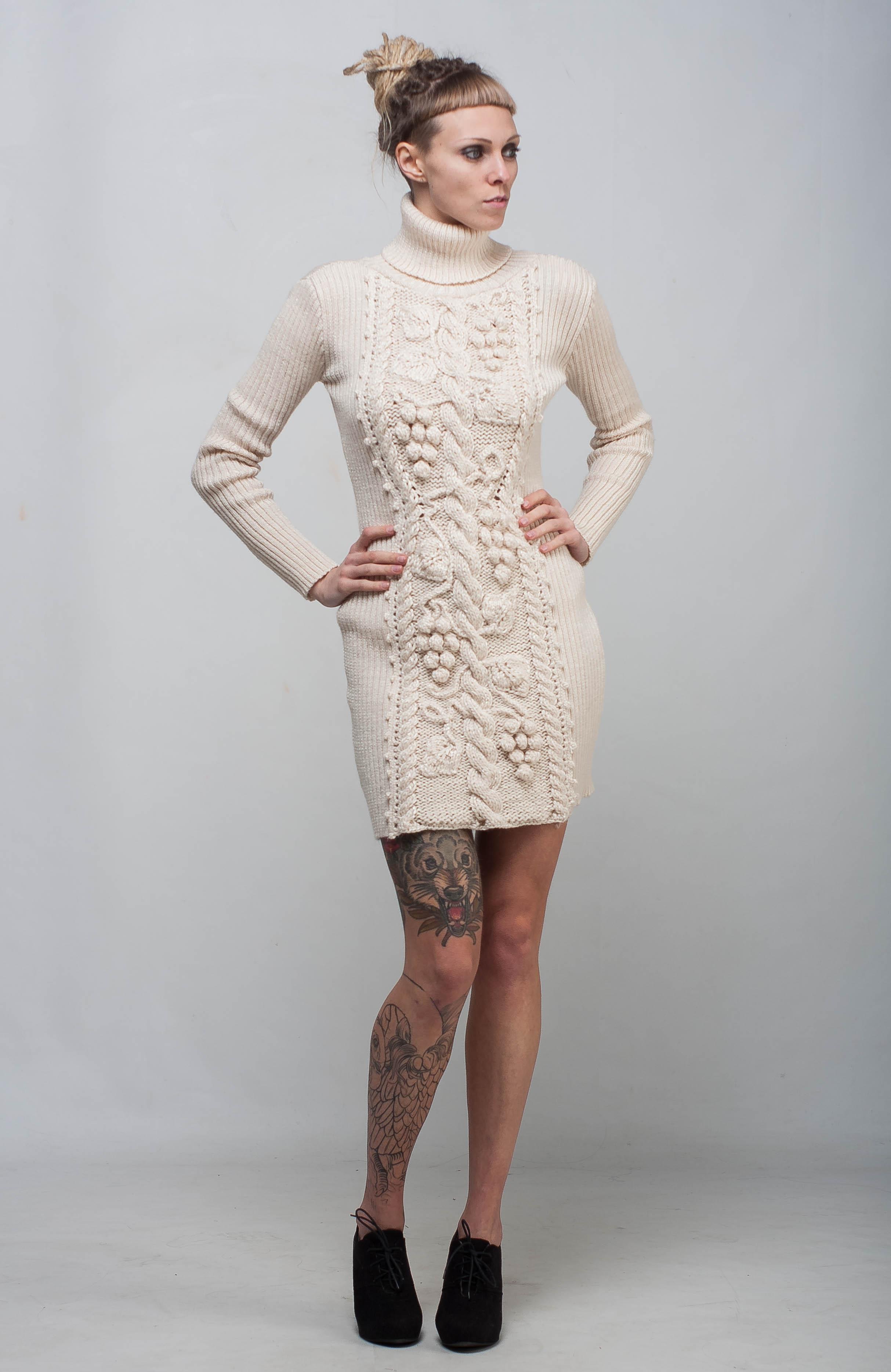 Ivory Cable Knit Dress Sheath White Dress Handmade Winter