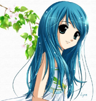 Anime girls anime girl with long blue hair